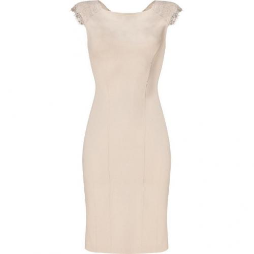 Blumarine Beige Stretch Sheath with Embellished Wool Shoulders