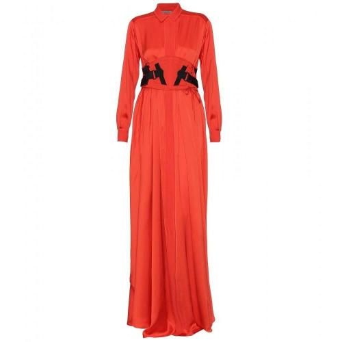 Bottega Veneta Langes Seidensatin Kleid Mit Taillengürtel