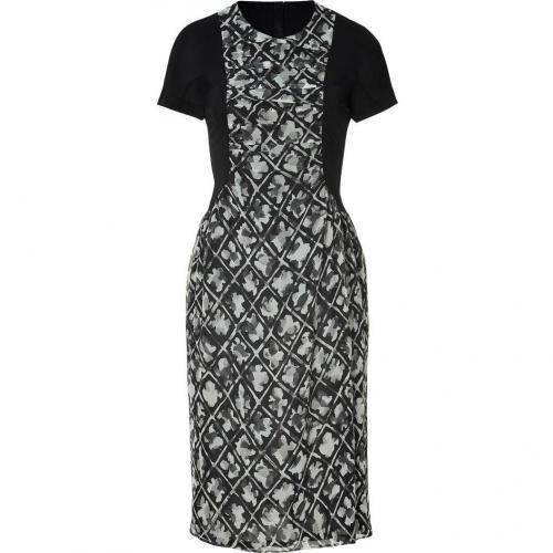 Burberry London Charcoal Patterned Silk Chiffon Kleid