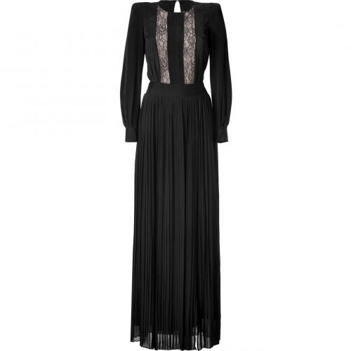 By Malene Birger Black Pleated Lace Trim Gown