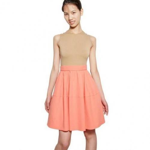 Carven Zweifarbiges Kleid Aus Seersuckerjersey