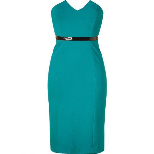 Catherine Malandrino Turquoise Strapless Dress with Vinyl Waistband