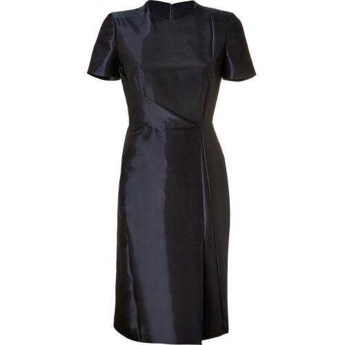 Cédric Charlier Navy Draped Taffeta Dress