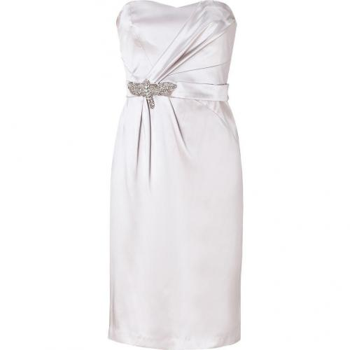 Collette Dinnigan Silver Strapless Silk Dress