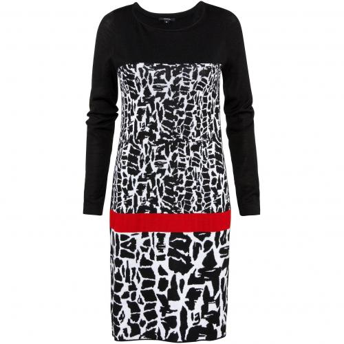 comma Kleid Schwarz Weiß mit rotem Sreifen