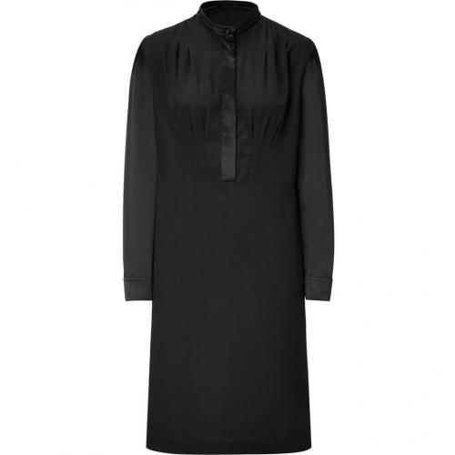 Derek Lam Black Front Button Silk Dress