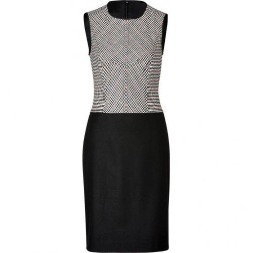Derek Lam Black-Multi Houndstooth Wool Stretch Dress