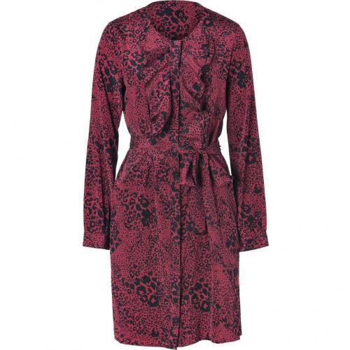 DKNY Berry Ruffle Animal Print Kleid