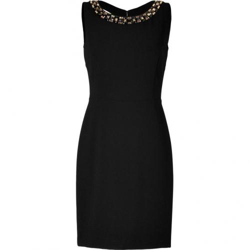 DKNY Black Beaded Collar Kleid