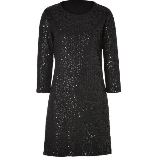 DKNY Black Cotton Allover Sequined Kleid