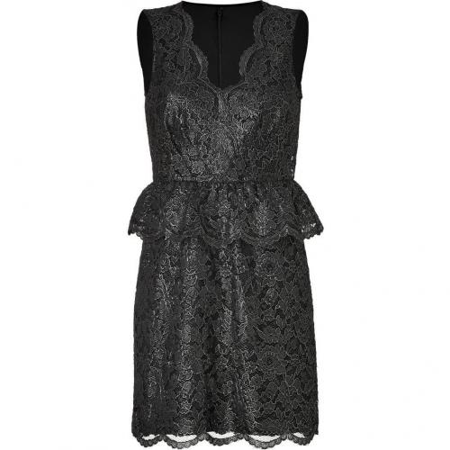 DKNY Black Metallic Floral Lace Peplum Kleid