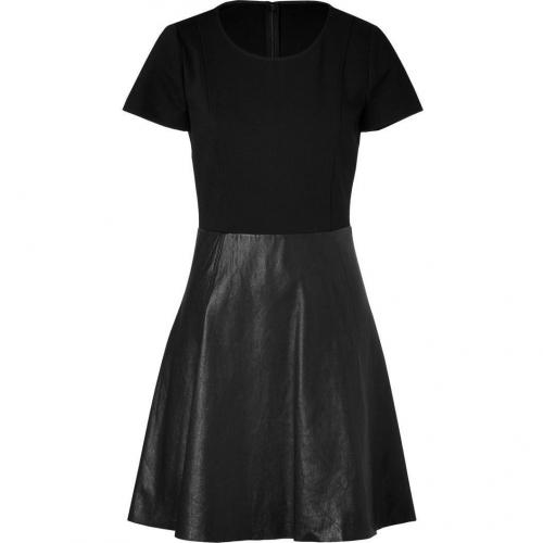 DKNY Black Short Sleeve Leather Combo Kleid