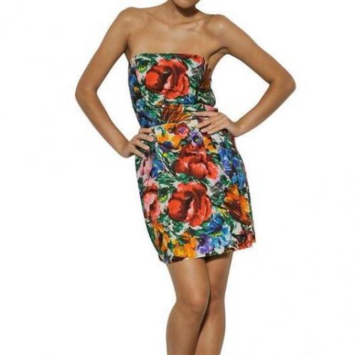 Dolce & Gabbana Baumwoll-Popelinen Kleid Mit Macro Blumen Print