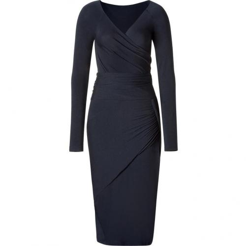 Donna Karan Anthracite Draped Jersey Kleid