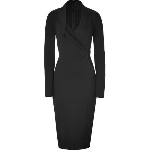 Donna Karan Black Cotton-Blend Fluid Crepe V-Neck Double Jersey Kleid
