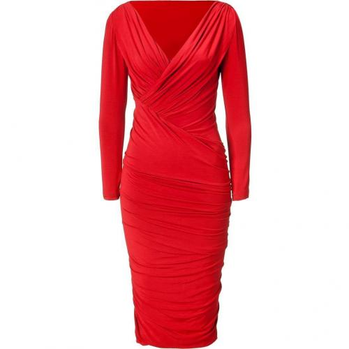 Donna Karan Blood Red Twist Drape Kleid
