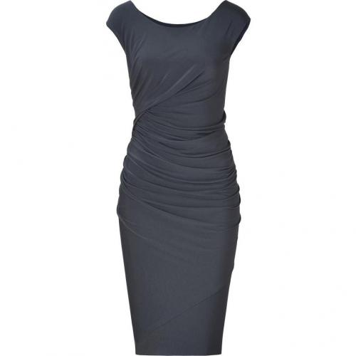 Donna Karan Carbon Cap Sleeve Draped Jersey Kleid