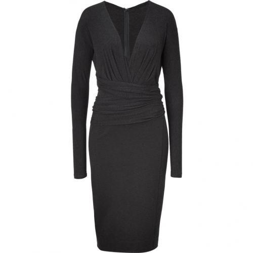 Donna Karan Charcoal Long Sleeve Molded Kleid