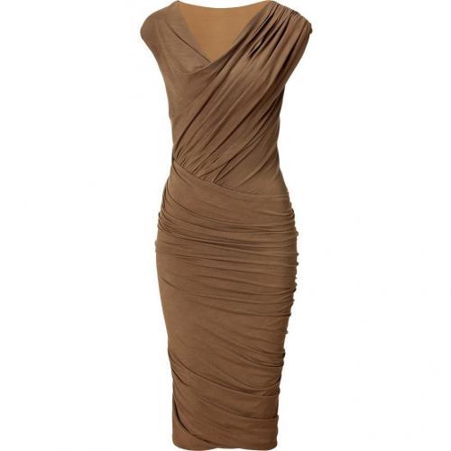 Donna Karan Clay Cap Sleeve Twist Drape Kleid