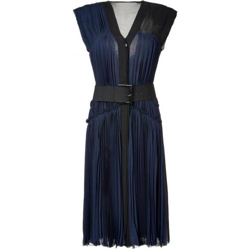 Donna Karan Ink Pleated Silk Chiffon Kleid with Belt