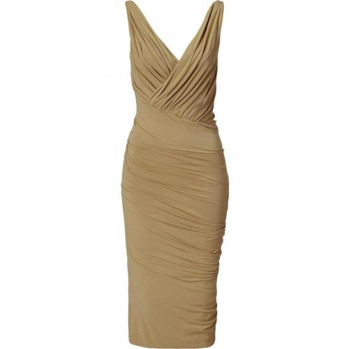 Donna Karan Khaki Twist Draped Kleid