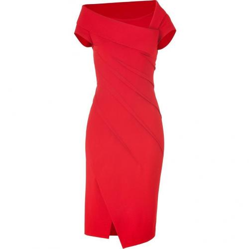 Donna Karan Lipstick Red Sculpted Cap Sleeve Kleid