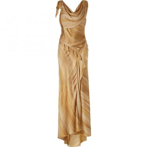 Donna Karan Saffron Printed Bias Evening Kleid