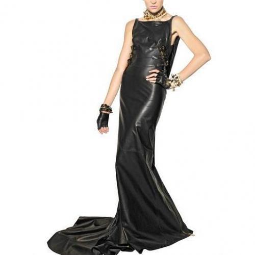 Dsquared Langes Kleid Aus Nappaleder Mit Reißverschluss