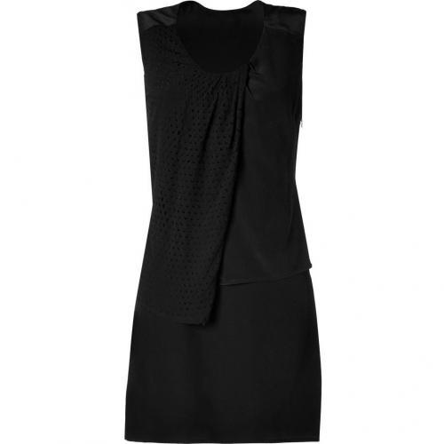 Edun Black Laser Cut Layered Front Silk Dress