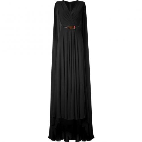 Elie Saab Black Cape Back Belted Silk Georgette Gown