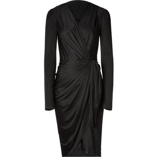 Emanuel Ungaro Black Ruffled Wrap Kleid