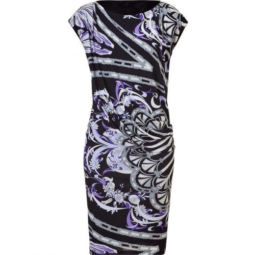 Emilio Pucci Black and Lilac Draped Jersey Dress