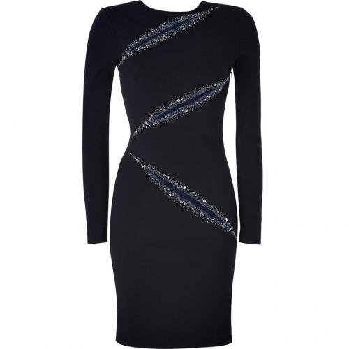 Emilio Pucci Black Crystal Embellished Wool Dress