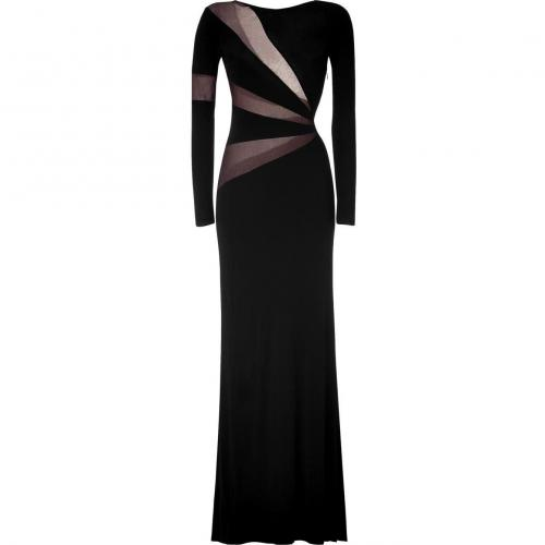 Emilio Pucci Black Sheer Mesh Trim Gown
