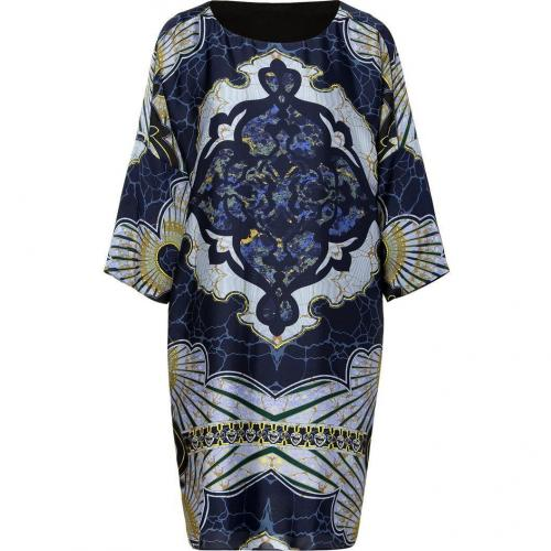 Emilio Pucci Navy/Azure Graphic Print Silk Dress