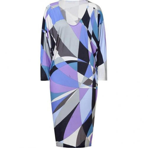 Emilio Pucci Silver Grey/Violet Dolman Sleeve Jersey Dress