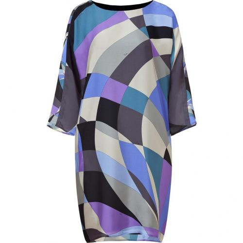 Emilio Pucci Silver Grey/Violet Geometric Print Silk Dress