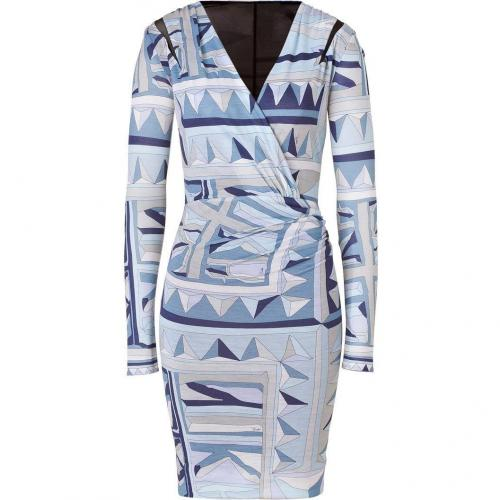 Emilio Pucci Tonal Sky Blue Draped Wool Dress