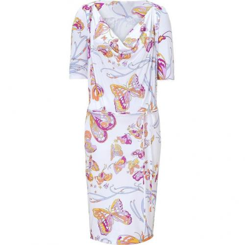 Emilio Pucci White Belted Butterfly Print Jersey Dress