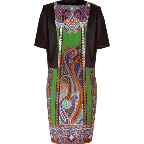 Etro Black/Resedagreen Silk Kleid