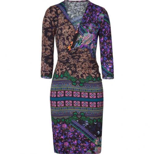 Etro Fuchsia/Emerald Flower Pattern Jersey Kleid
