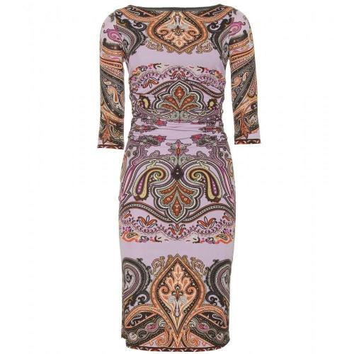 Etro Gerafftes Paisley-Print-Kleid Muster