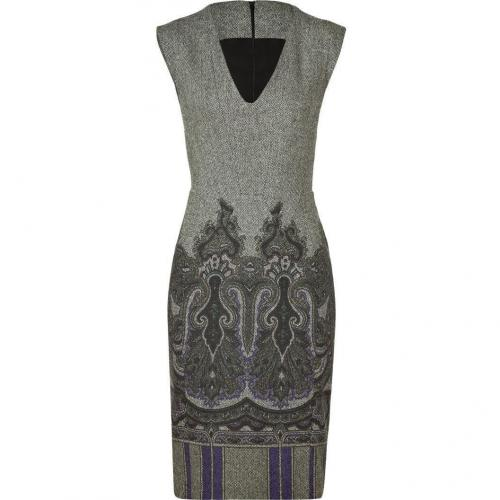 Etro Ivory/Black And Serpentine/Purple Pattern Wool Kleid