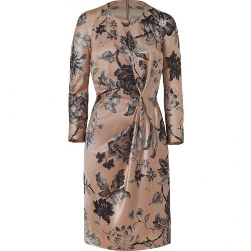 Etro Nude/Graphite Flower Patterned Wool/Silk Kleid