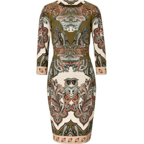 Etro Olive Green/Ecru-Multi Wool Kleid
