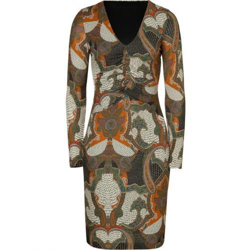 Etro Saffron/Malachite Mosaic Paisley Print Jersey Kleid