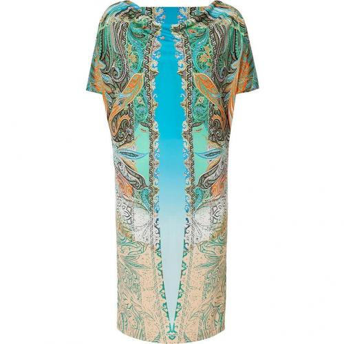 Etro Turquoise-Multi Pasley Print Jersey Kleid