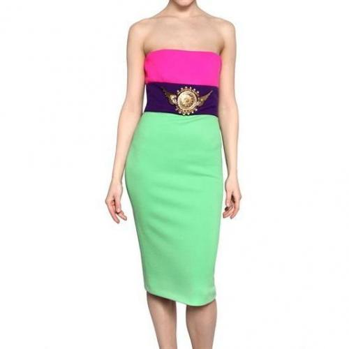 Fausto Puglisi Trägerloses Applikation Woll Jersey Kleid