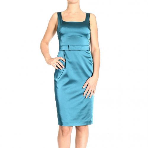 Frankie Morello Sleeveless stretch satin belt dress