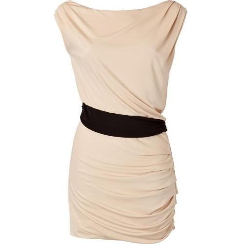 Halston Heritage Beige/Black Color Block Waist Kleid